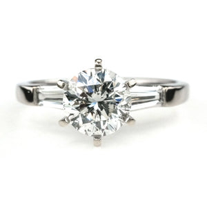 1.25ct SI2/I Round Diamond w/ Side Accents Engagement Ring in 18K White Gold Engagement Rings Oaks Jewelry