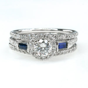 1.25ctwt Diamond w/Sapphire Double Band Bridal Set 14K White Gold Bridal Sets Oaks Jewelry