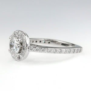 1.35ctw Round Diamond Halo & European Shank Engagement Ring in 18K White Gold Engagement Rings Oaks Jewelry