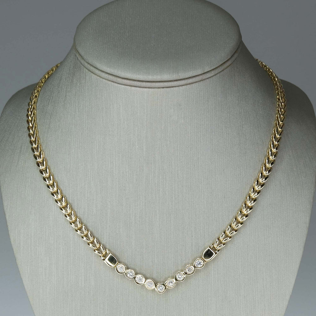 1.35ctw Round Diamond V-Shaped Bezel Necklace in 14K Yellow Gold Necklaces Oaks Jewelry