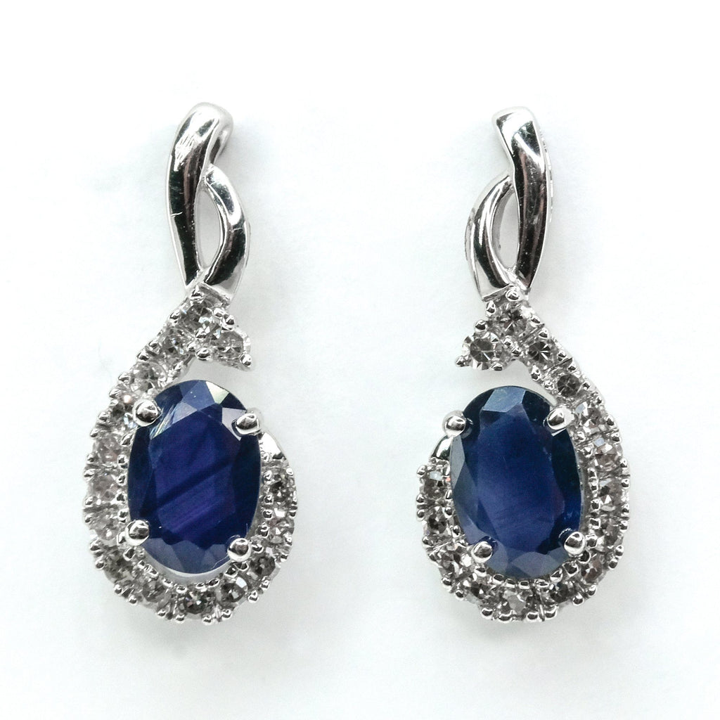 1.40ctw Blue Sapphire & Diamond Accented Dangle Drop Earrings 14K White Gold Earrings Oaks Jewelry