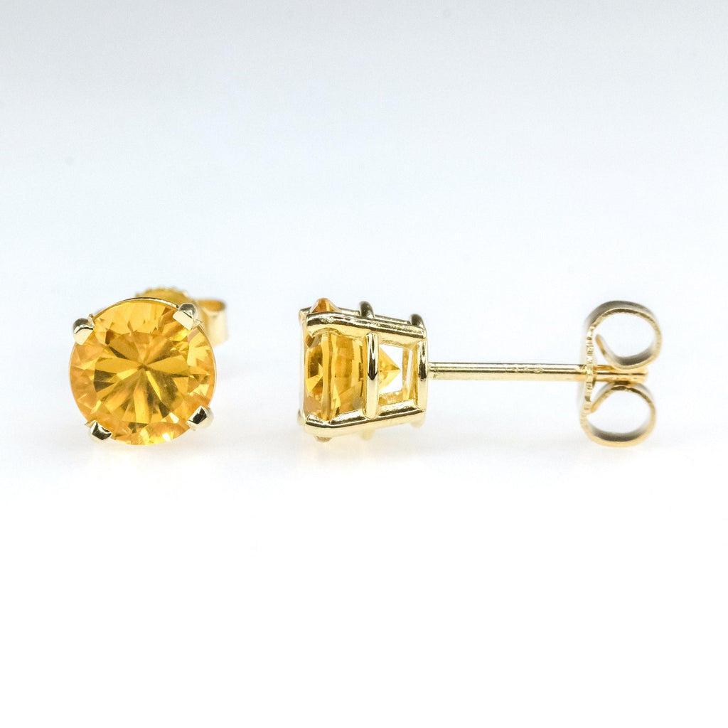 1.40ctw Round Citrine Solitaire Gemstone Stud Earrings in 14K Yellow Gold Earrings Oaks Jewelry