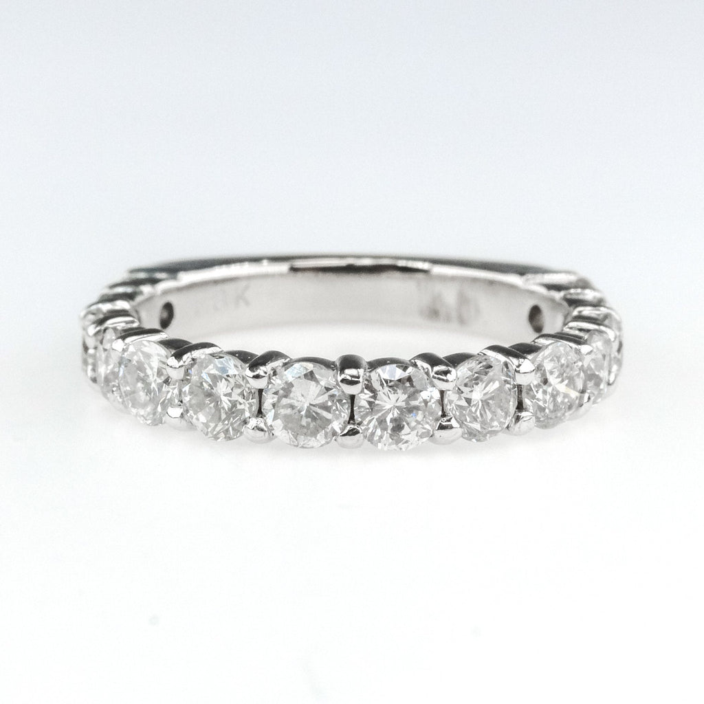 1.40ctw Round Diamond Accents European Shank Wedding Band Ring in 18K White Gold Wedding Rings Oaks Jewelry