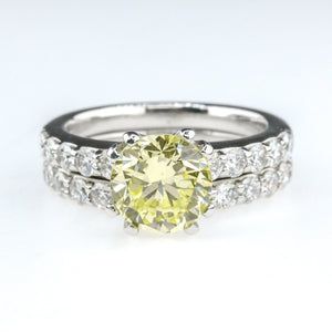 1.46ct GIA Fancy Yellow Diamond w/ Accents Bridal Set 14K White Gold Bridal Sets Oaks Jewelry