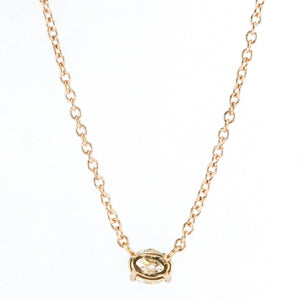 "14K Rose Gold 0.59ct Oval Diamond East West Fixed Pendant on 16"" Cable Necklace Necklaces Oaks Jewelry"