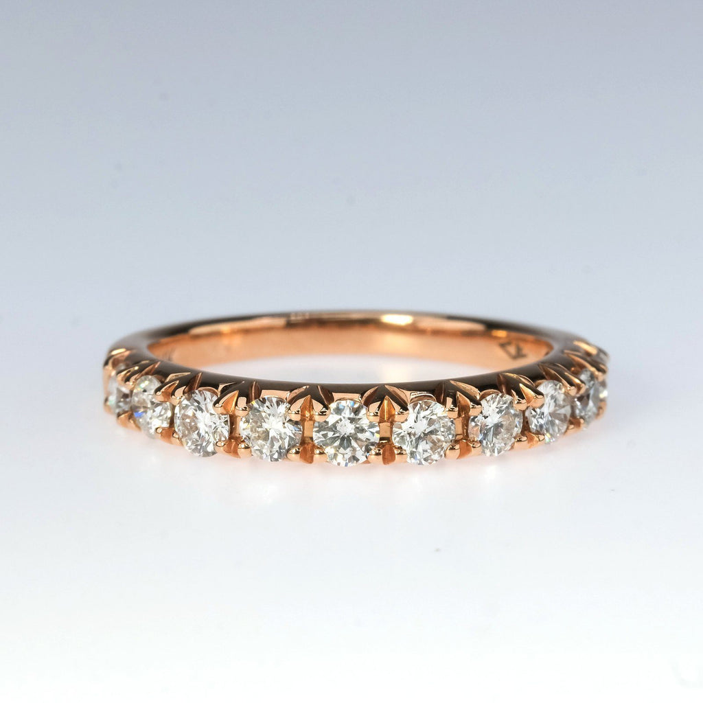 14K Rose Gold 0.75ctw Round Diamond Accent Wedding Band Ring Size 6.75 Wedding Rings Oaks Jewelry
