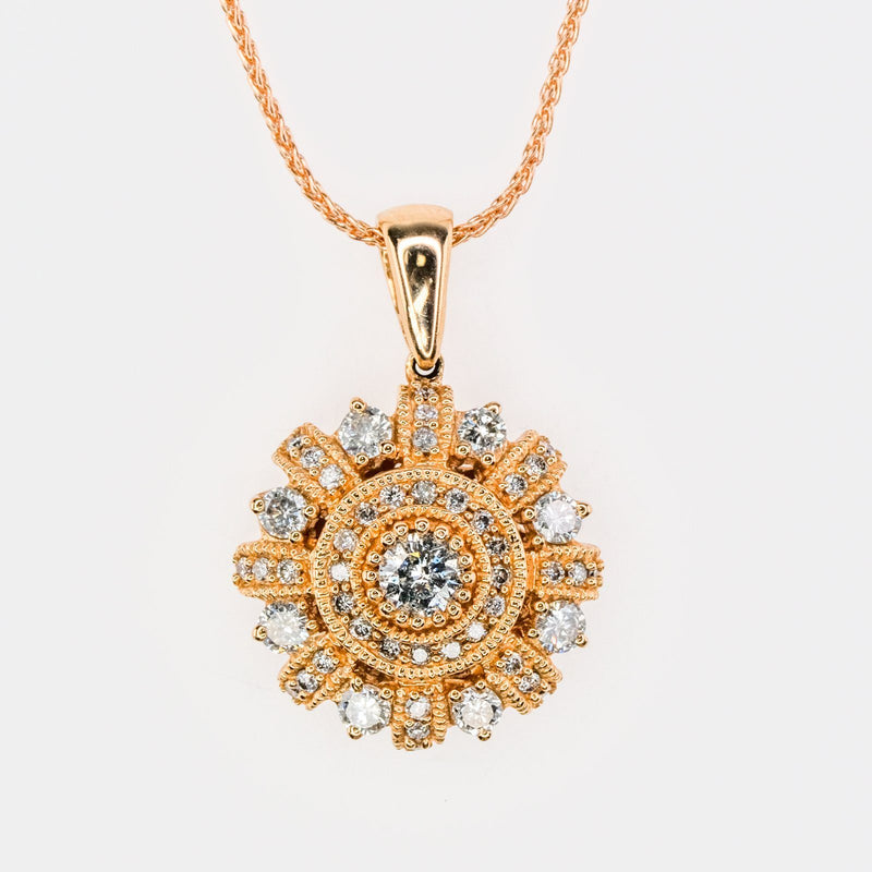 "14K Rose Gold 1.25ctw Round Diamond Accented Halo Milgrain Pendant on 18"" Chain Pendants with Chains Oaks Jewelry"