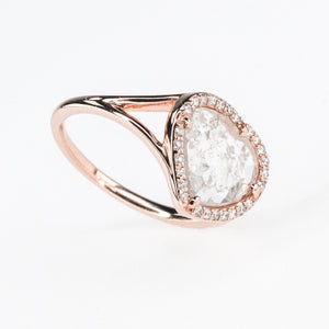 14K Rose Gold 1.33ct Faceted Diamond Slice with Diamond Accents Halo Ring Size 7 Diamond Rings Oaks Jewelry