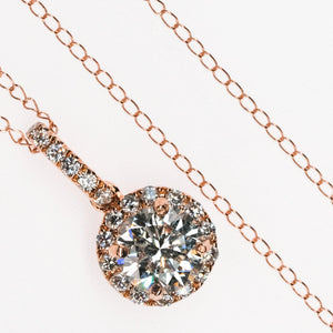 "14K Rose Gold GIA 0.77ct Diamond with Halo Accents Pendant with 18"" Chain Pendants with Chains Oaks Jewelry"