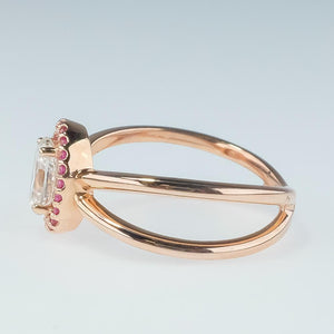 14K Rose Gold GIA 0.78ct Oval Diamond VVS2/I Pink Sapphire Halo Engagement Ring Engagement Rings OaksJewelry