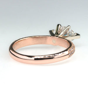 14K Rose Gold GIA 1.00ct Marquise Diamond VS2/F & Side Accented Engagement Ring Engagement Rings Oaks Jewelry