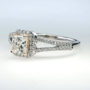 14K Two Tone 0.71ct GIA Princess Cut Diamond Halo & Side Accents Engagement Ring Engagement Rings Oaks Jewelry