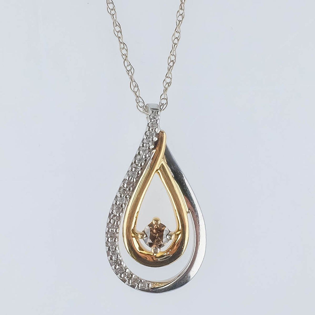 "14K Two Tone Gold 0.21ctw Brown & White Diamond Accents Pendant & 19"" Rope Chain Pendants with Chains Oaks Jewelry"