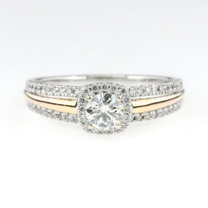 14K Two Tone Gold 0.25ct Round Diamond SI2/H Halo & Side Accents Engagement Ring Engagement Rings Oaks Jewelry