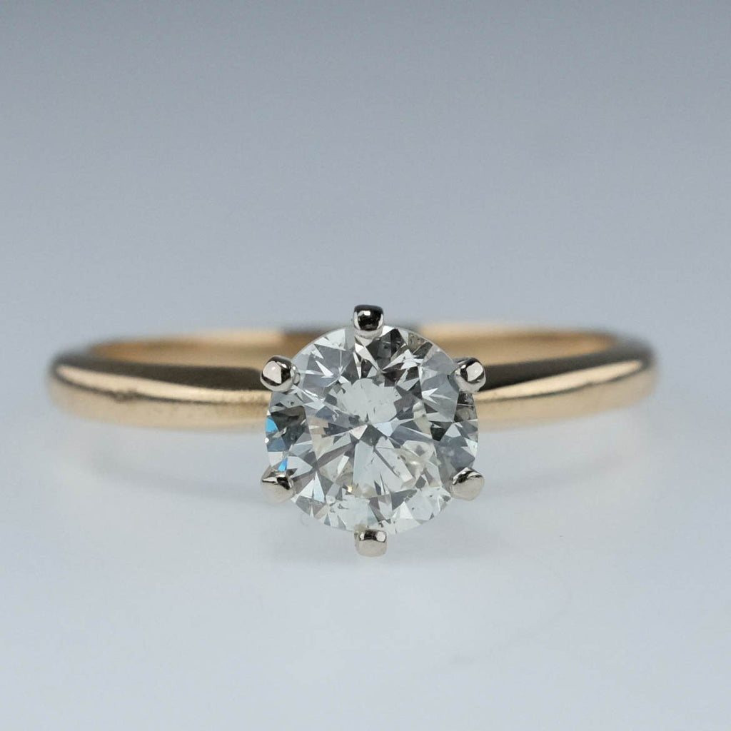 14K Two Tone Gold 1.02ct Round Diamond I1/L Solitaire Engagement Ring Size 7 Engagement Rings Oaks Jewelry
