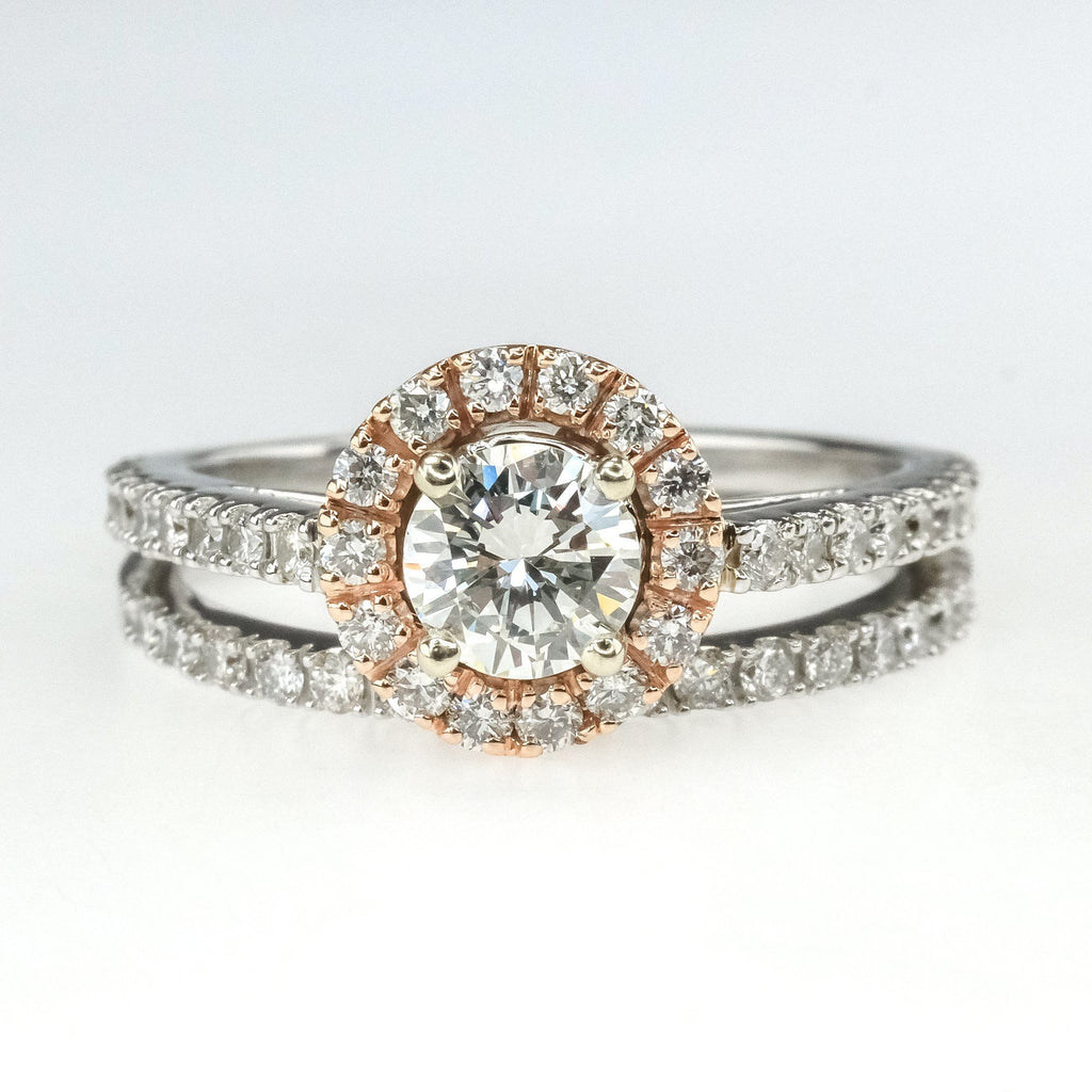 14K Two Tone Gold GIA 0.45ct Round Diamond VS1/K Halo & Accented Bridal Ring Set Bridal Sets OaksJewelry