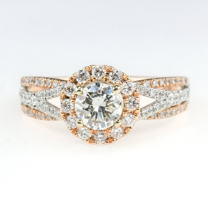 14K Two Tone Gold GIA 0.47ct Round Diamond I1/K Halo & Accented Engagement Ring Engagement Rings Oaks Jewelry