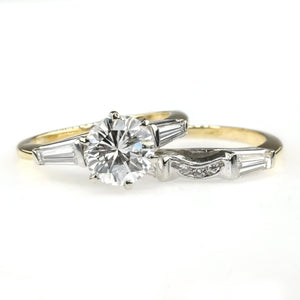 14K Two Tone Gold GIA 1.52ct Round VS2/D & Baguette Accents Bridal Set Size 5.5 Bridal Sets Oaks Jewelry