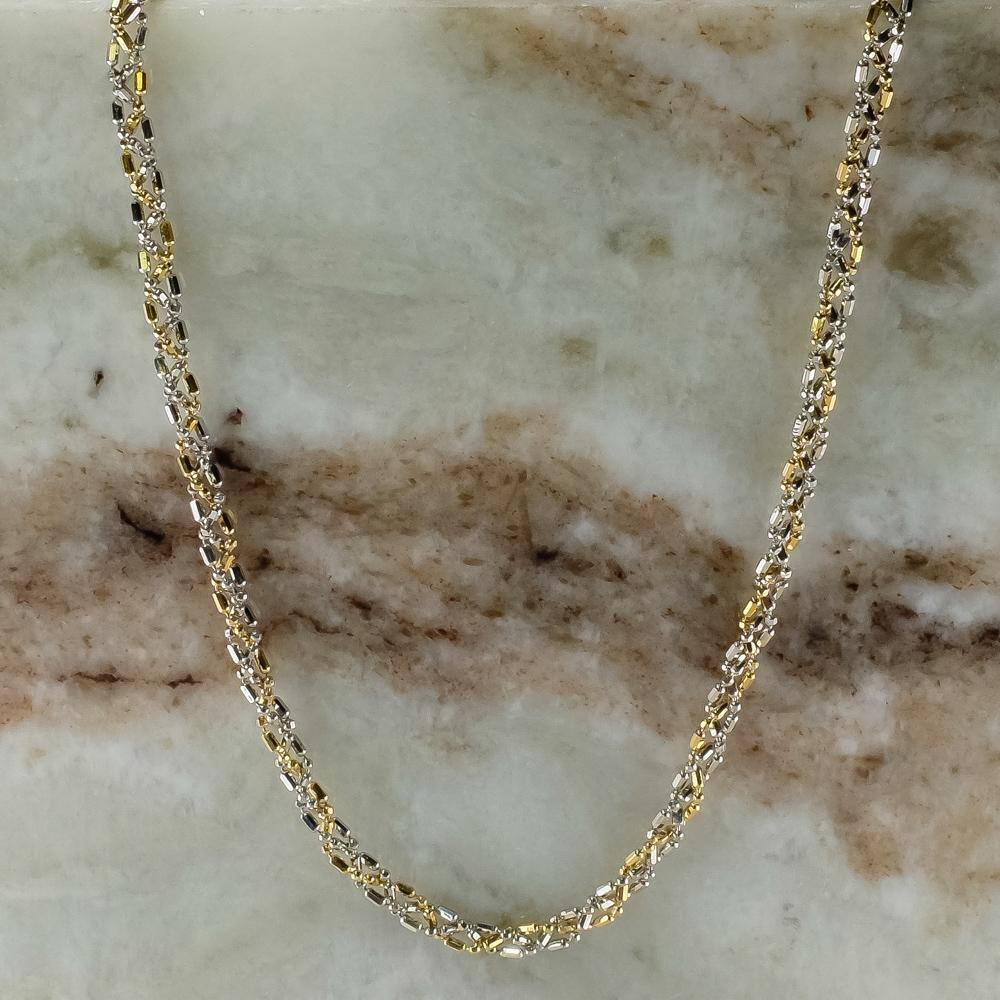 "14K Two Tone Gold Hollow Triple Strand Woven Braid Bead Link 18"" Chain Necklace Chains Oaks Jewelry"
