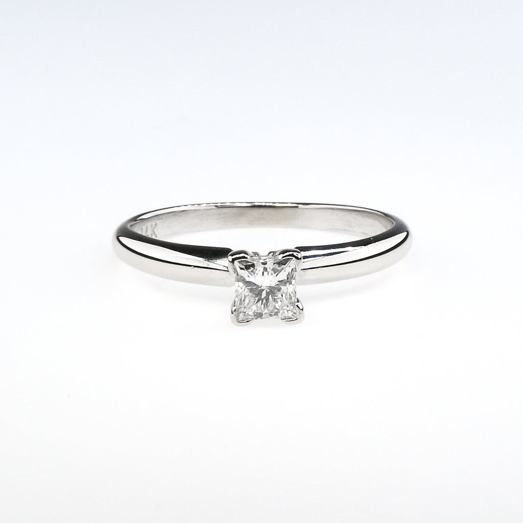 14K White Gold 0.30ct Princess Cut Diamond I1/I Solitaire Engagement Ring Engagement Rings Oaks Jewelry