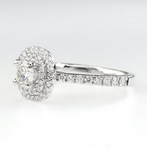 14K White Gold 0.45ct Round Diamond VS2/I with Double Halo Engagement Ring Engagement Rings Oaks Jewelry
