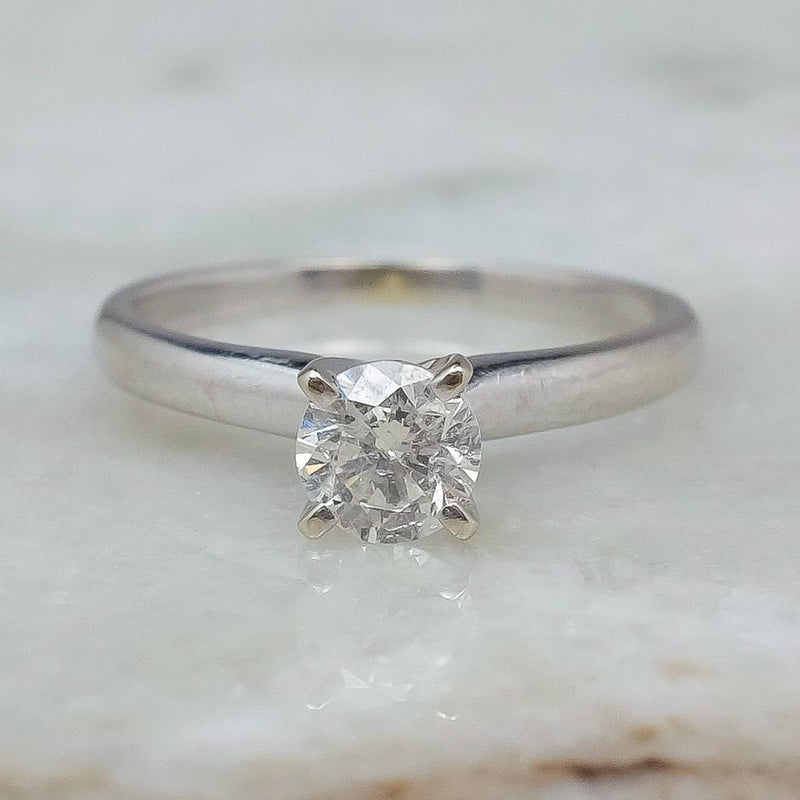 14K White Gold 0.50ct Round Diamond I1/I Solitaire Engagement Ring Size 4.5 Engagement Rings Oaks Jewelry
