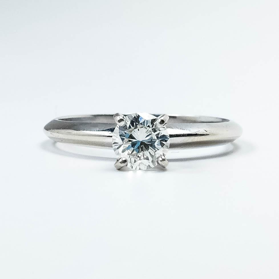14K White Gold 0.50ct Round Diamond SI2/G Solitaire Engagement Ring - 2.0 grams Engagement Rings Oaks Jewelry