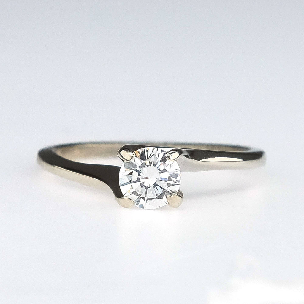 14K White Gold 0.50ct Round SI1/H Diamond Solitaire Engagement Ring Size 6 Engagement Rings Oaks Jewelry