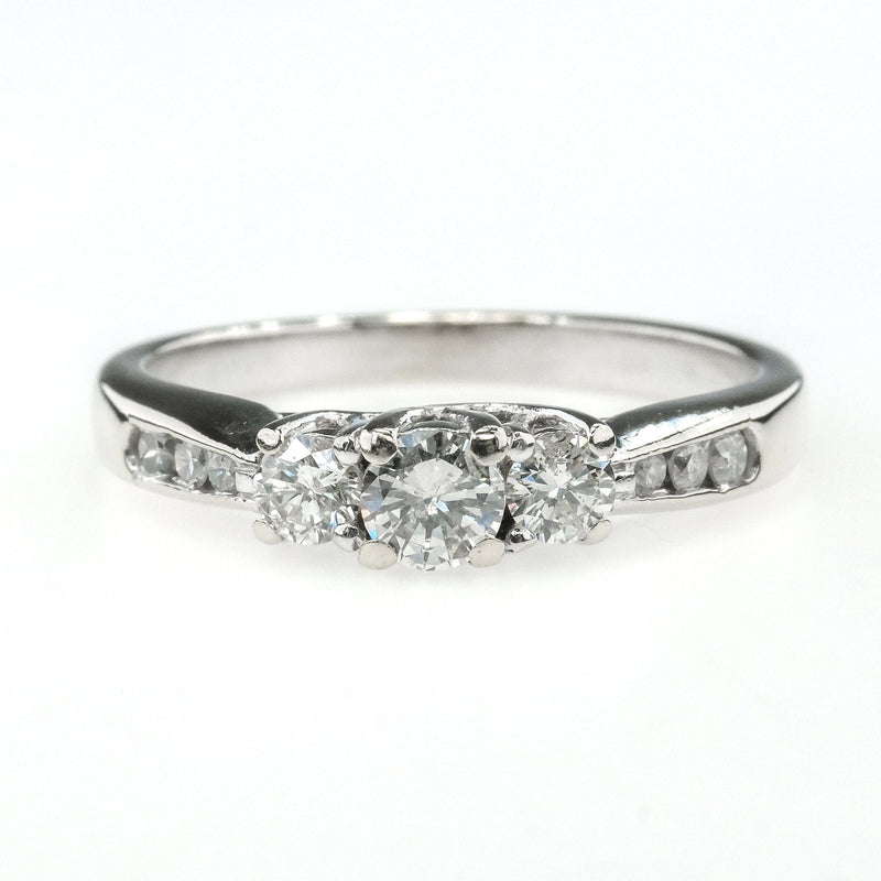 14K White Gold 0.50ctw Round Diamond Three Stone & Side Accents Engagement Ring Engagement Rings Oaks Jewelry