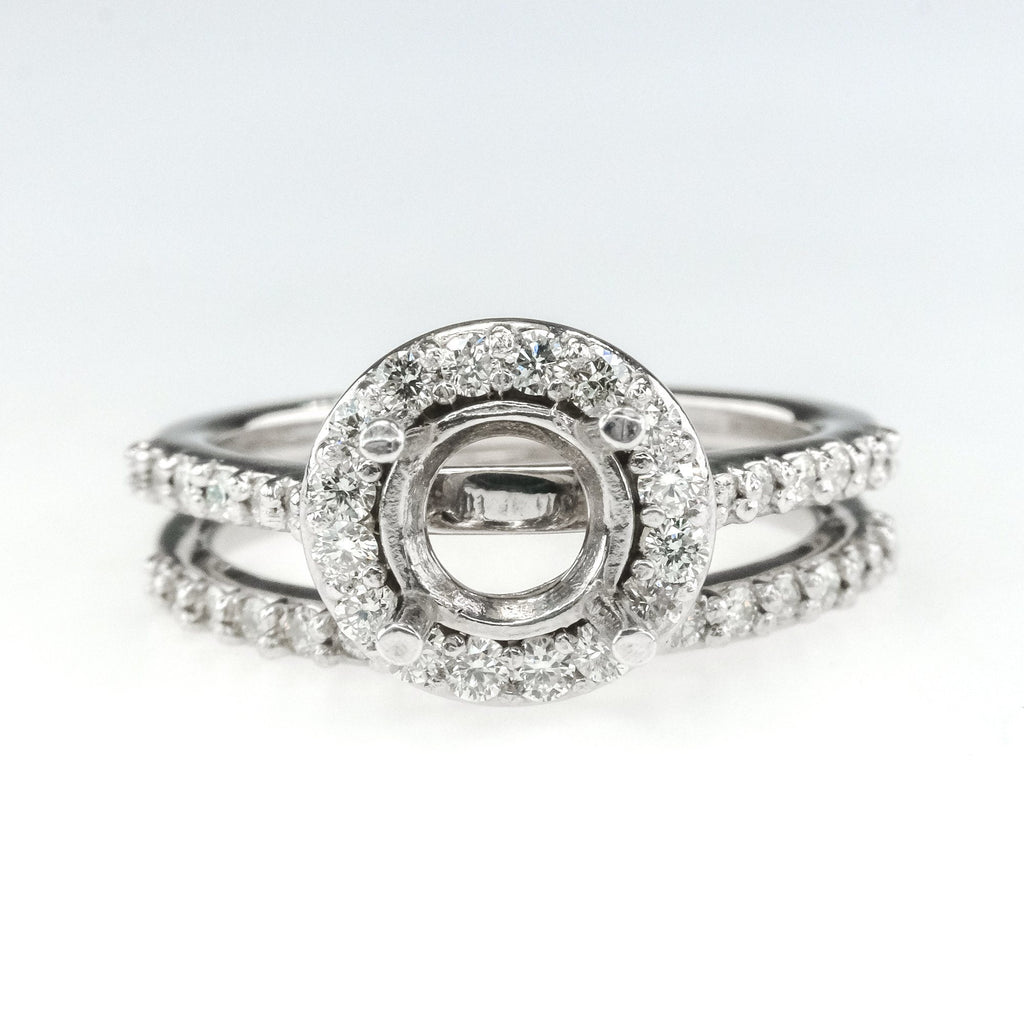 14K White Gold 0.57ctw Diamond Halo Accented Semi Mount Setting Bridal Ring Set Bridal Sets Oaks Jewelry