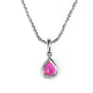 "14K White Gold 0.64ct Natural Ruby & Diamond Accents Pendent 18"" Tinsel Necklace Pendants with Chains Oaks Jewelry"