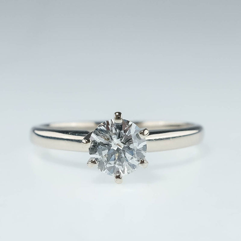 14K White Gold 0.69ctw Round Diamond Solitaire I1/I Engagement Ring Size 7 Engagement Rings Oaks Jewelry