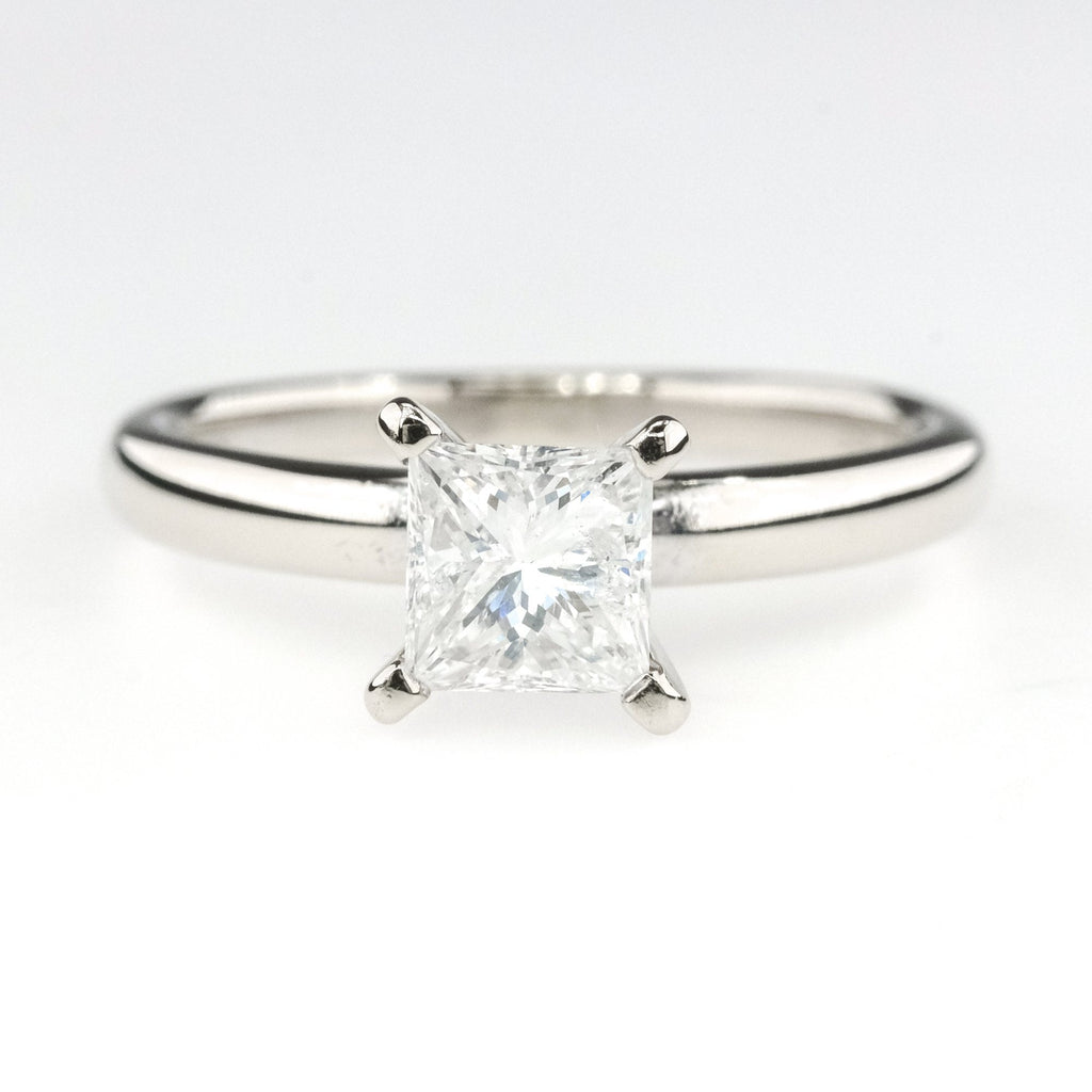 14K White Gold 0.70ct GSL Princess Cut Diamond I1/F Solitaire Engagement Ring Engagement Rings Oaks Jewelry