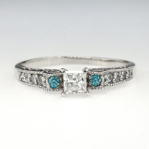 14K White Gold 0.70ctw White & Blue Diamond Accented Scroll Engagement Ring Engagement Rings Oaks Jewelry
