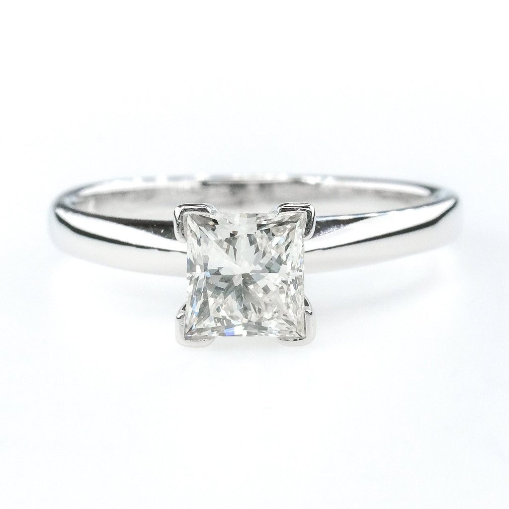14K White Gold 0.75ct Princess Cut Diamond Solitaire Engagement Ring Size 5.5 Engagement Rings Oaks Jewelry