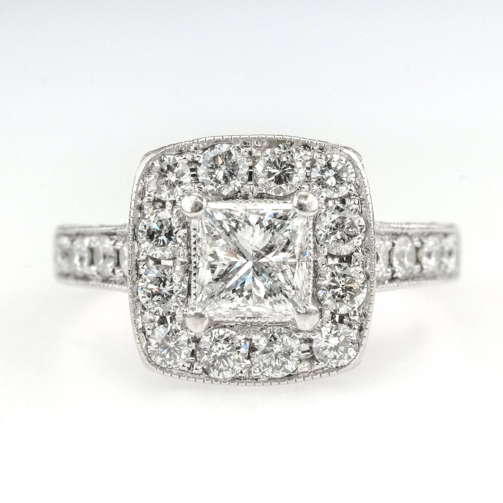 14K White Gold 0.75ct Princess Diamond Halo & Side Accented Engagement Ring Engagement Rings Oaks Jewelry