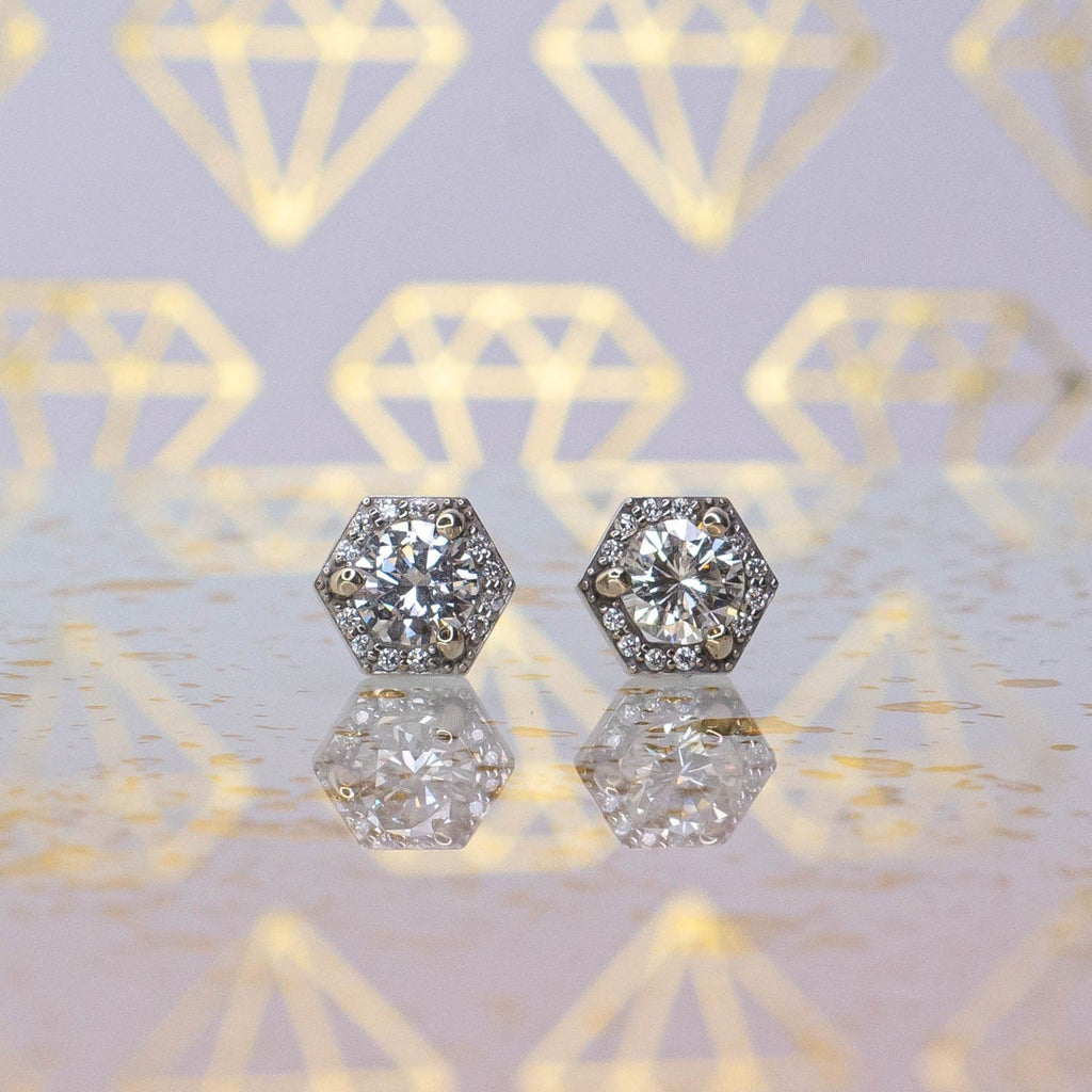 14K White Gold 0.75ctw Round Diamond Geometrical Halo Stud Earrings - 1.3 grams Earrings Oaks Jewelry