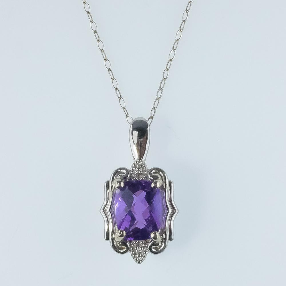 "14K White Gold 0.80ct Amethyst & Diamond Accents Pendant on 20"" Chain Necklace Pendants with Chains Oaks Jewelry"
