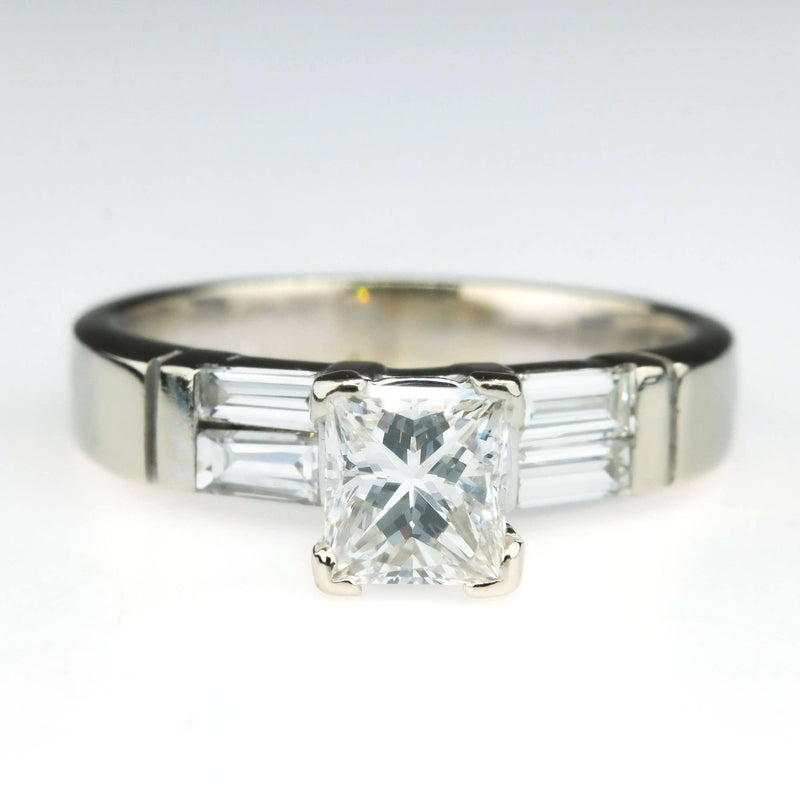 14K White Gold 0.80ct Princess Diamond & Side Accented Engagement Ring Size 6.25 Engagement Rings Oaks Jewelry