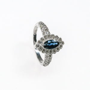 14K White Gold 1.00ct Created Sapphire with 0.65ctw Diamonds Halo Style Ring Gemstone Rings Oaks Jewelry