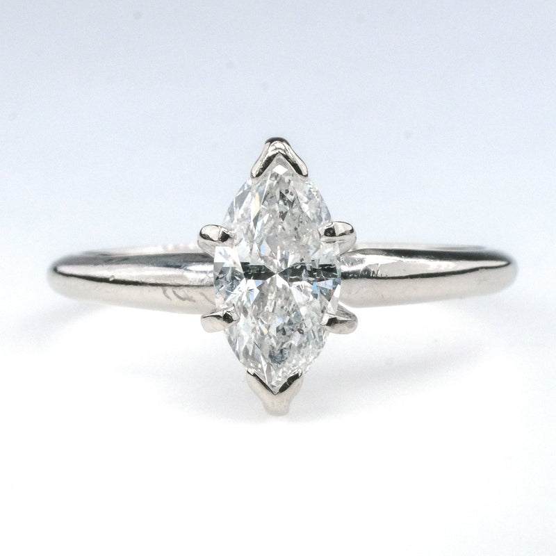 14K White Gold 1.00ct Solitaire Marquise Cut Diamond Engagement Ring Size 6.5 Engagement Rings Oaks Jewelry