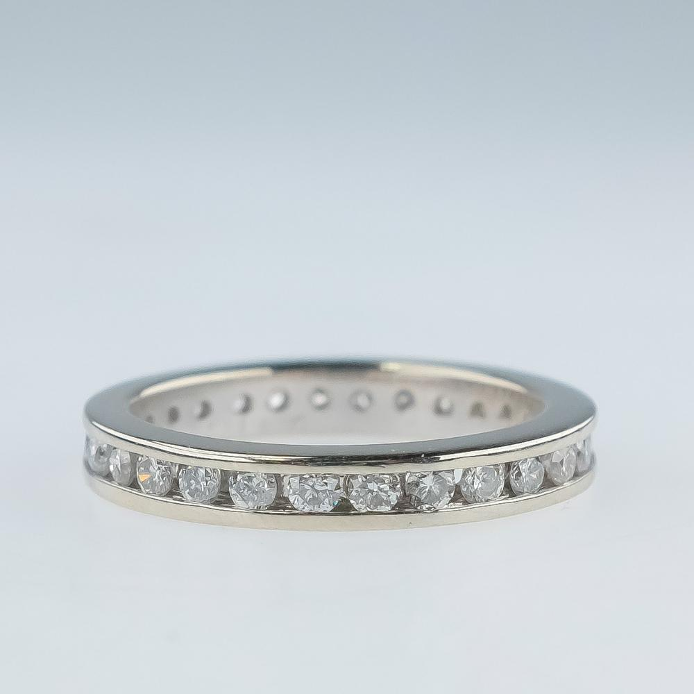 14K White Gold 1.00ctw Diamond Accented Eternity Wedding Band Ring Size 6.5 Wedding Rings Oaks Jewelry