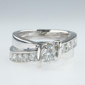 14K White Gold 1.00ctw Round Diamond & Accents Bypass Engagement Ring Size 6 Engagement Rings Oaks Jewelry