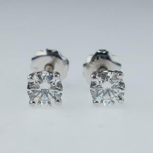 14K White Gold 1.00ctw Round Diamond SI1/H-I Screw-back Stud Pierced Earrings Earrings Oaks Jewelry