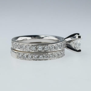 14K White Gold 1.03ct IGI Cushion Diamond Comfort Fit Bridal Set Ring Size 5 Bridal Sets Oaks Jewelry