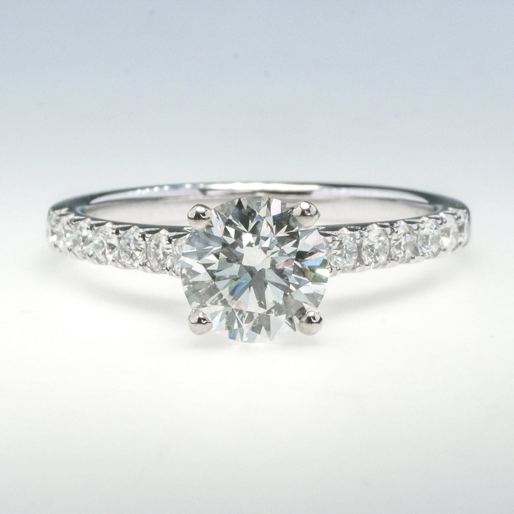 14K White Gold 1.09ct GIA SI2-H Diamond Solitare w/Accents Engagement Ring Engagement Rings Oaks Jewelry