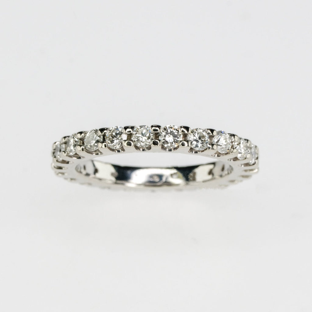 14K White Gold 1.10ctw Round Diamond Eternity Wedding Band Ring Size 5 Wedding Rings Oaks Jewelry
