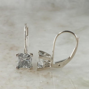 14K White Gold 1.15ctw Princess Cut Diamond Solitaire Dangle Drop Earrings Earrings Oaks Jewelry