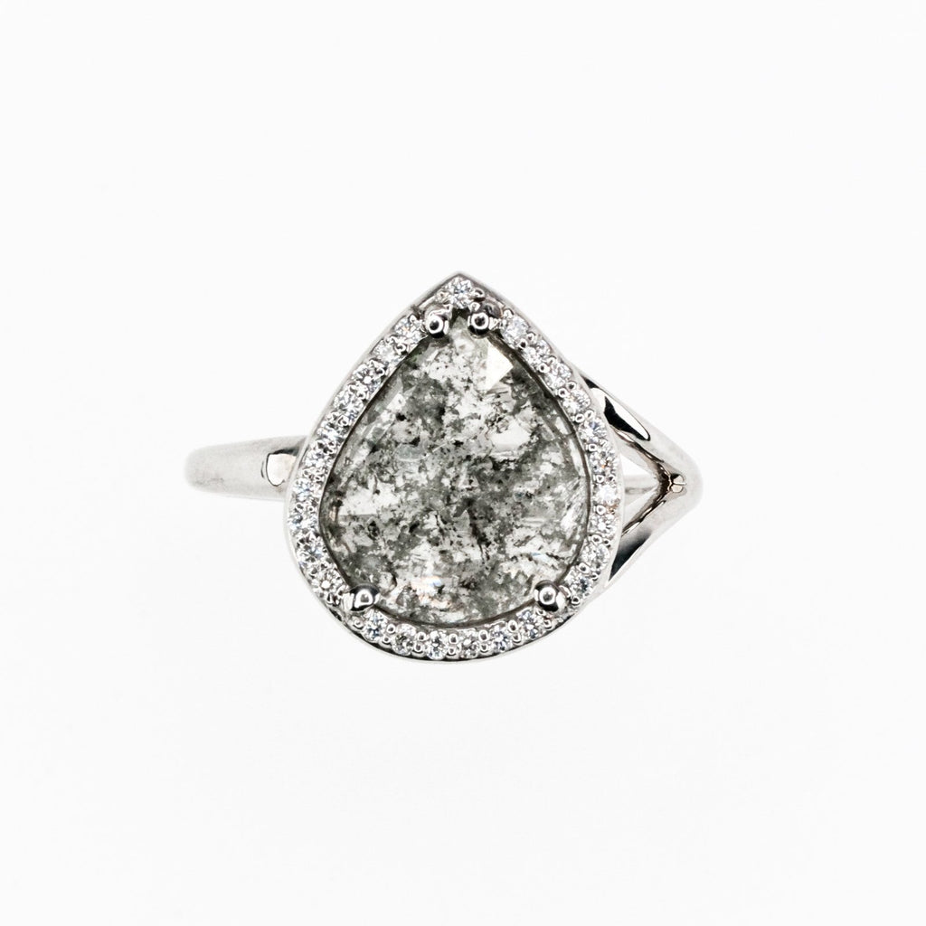 14K White Gold 1.21ct Faceted Diamond Slice with Diamond Halo Ring Size 6.75 Diamond Rings Oaks Jewelry
