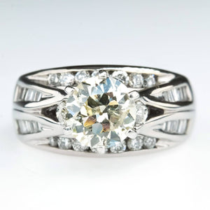 14K White Gold 1.25ct Round Diamond I1/K & Side Accented Engagement Ring Size 4 Engagement Rings Oaks Jewelry